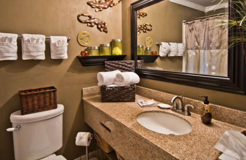 Guest bathroom at Palm Suites Hotel.