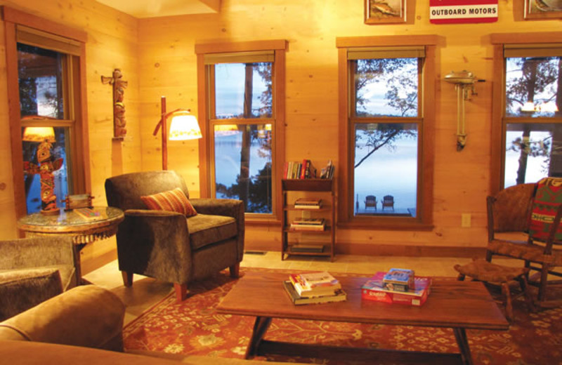 Cabin living room at Johnson's Millpoint Resort.