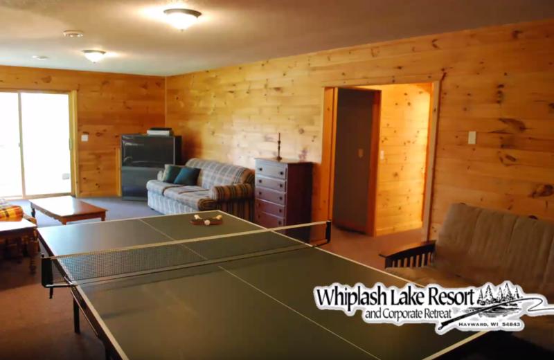 Cabin living room at Whiplash Lake Resort.