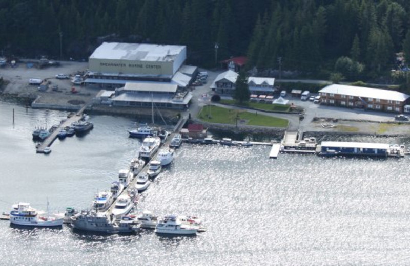 Aerial view of Shearwater Resort & Marina.