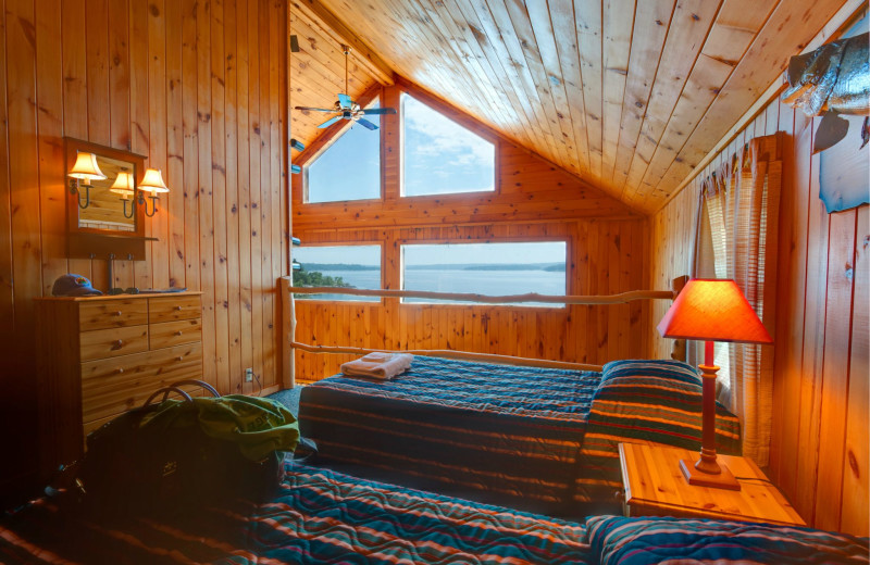 Cabin bedroom at Tetu Island Lodge.