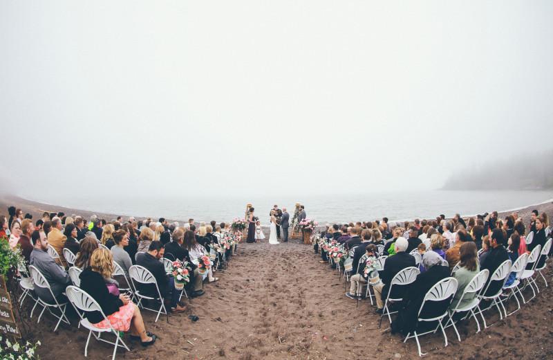 Wedding ceremony at Superior Shores Resort.