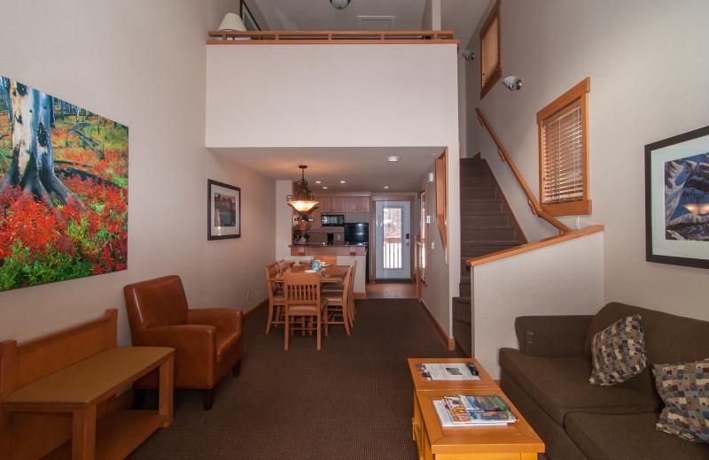 Guest living room at Hidden Ridge Resort.