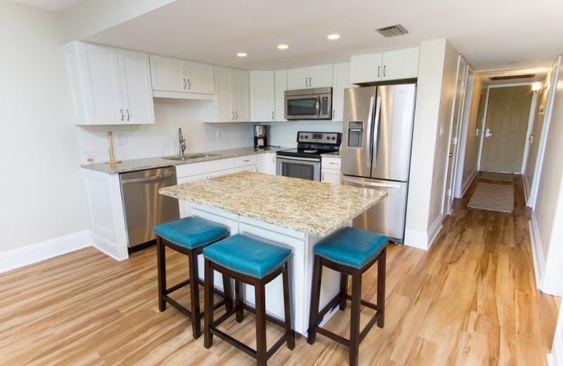 Rental kitchen at Plumlee Gulf Beach Realty.
