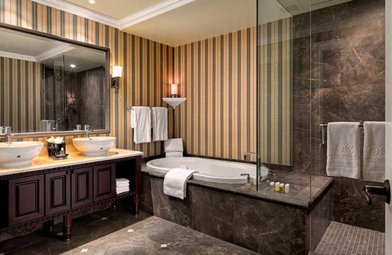 Suite bathroom at Oak Bay Beach Hotel.