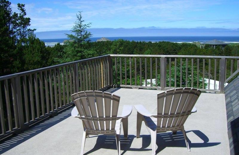 Rental deck at Oceanfront Getaways.