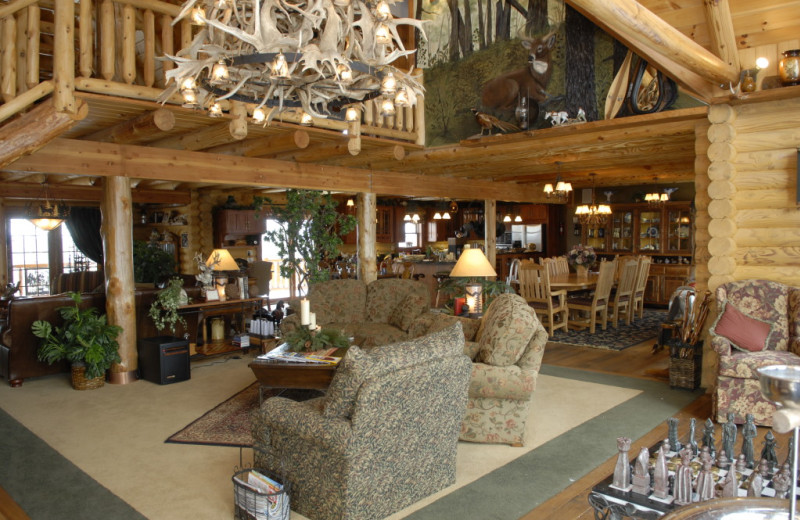Lobby area at Pine Lakes Lodge.