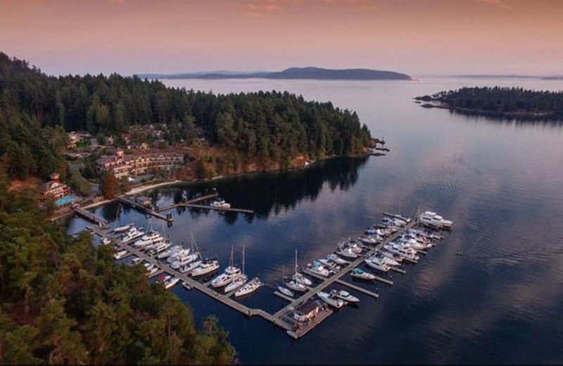 Aerial vie of Poets Cove Resort & Spa.