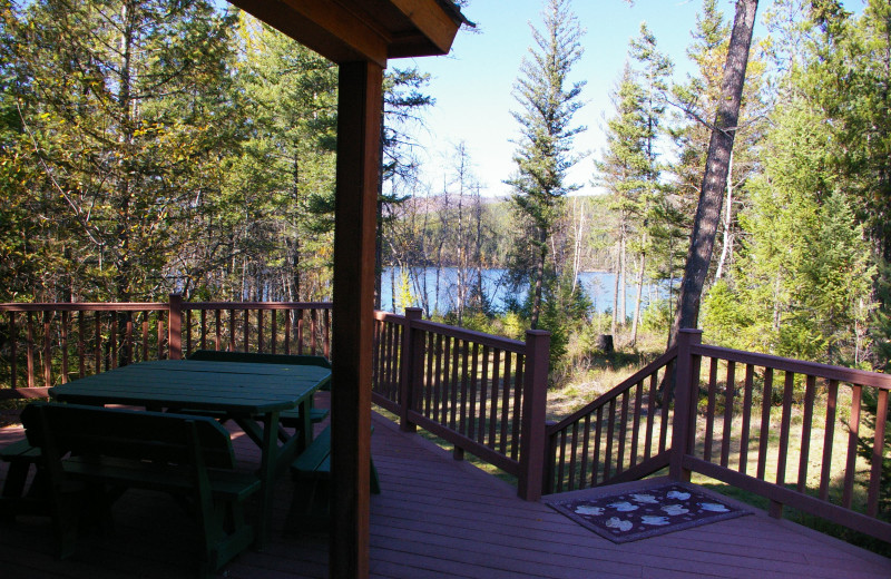 Cabin deck at Lake Five Resort.