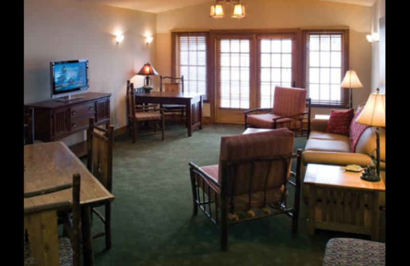Guest living room at Otsego Club and Resort.
