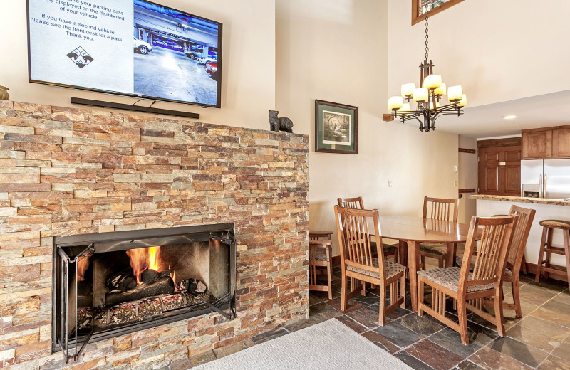 Guest fireplace at Antlers at Vail.