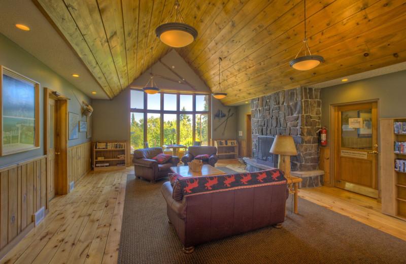 Lobby at Lutsen Resort on Lake Superior.
