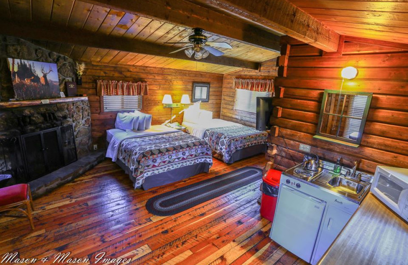 Cabin bedroom at High Country Lodge.