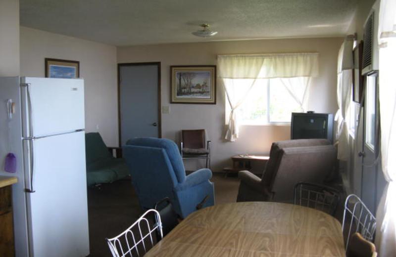 Cabin interior at Wild Walleye Resort.