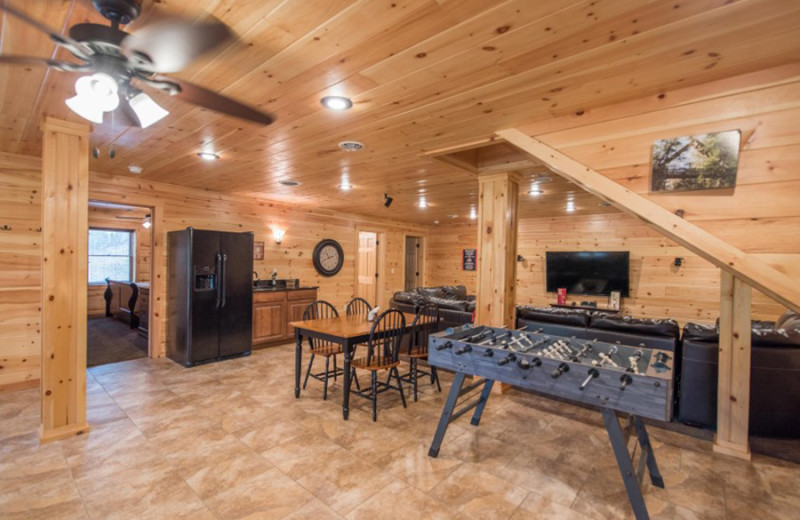 Cabin game room at Cut Above Cabins.