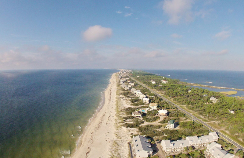 Aerial view of Resort Vacation Properties of St. George Island.