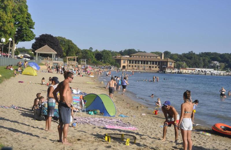 Beach at Harbor Shores on Lake Geneva.