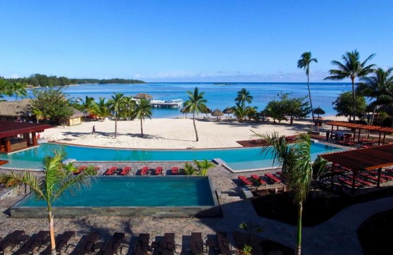 Pool and beach at Moorea Beachcomber Inter-Continental Resort.