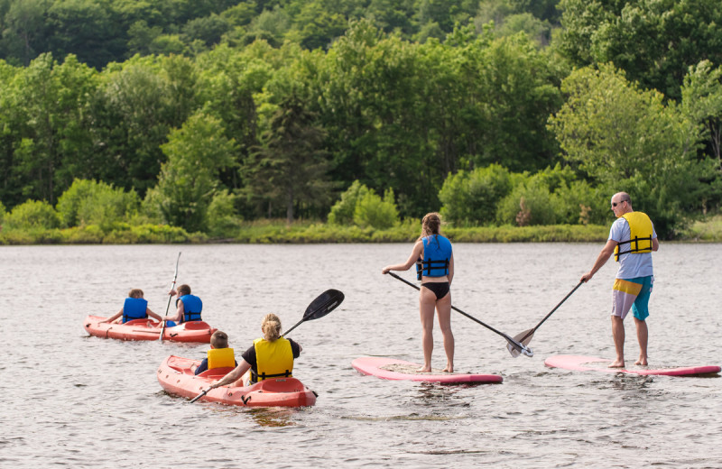 Kayaking and paddle boarding at Deerhurst Resort.