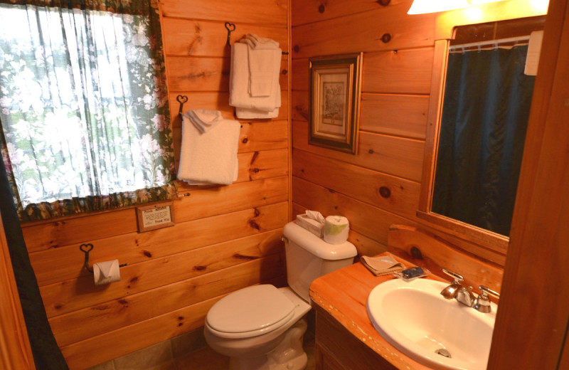 Cabin bathroom at The New England Inn & Lodge.