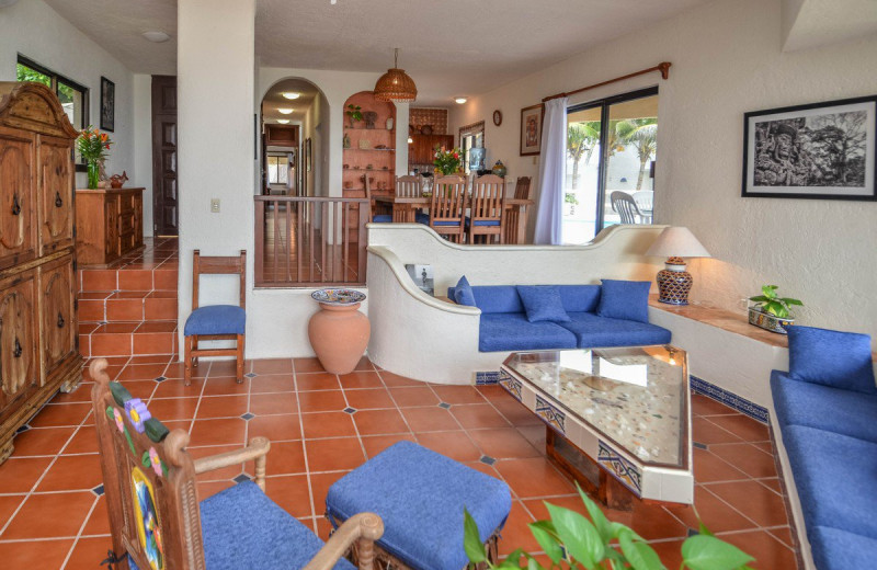 Rental living room at Villa Nicte-Ha.