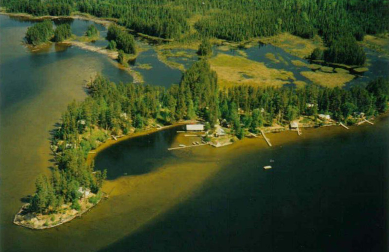 Aerial view of Red Pine Wilderness Lodge.