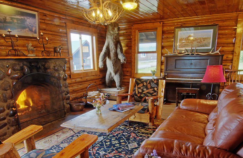 Lodge interior at Triangle X Ranch.