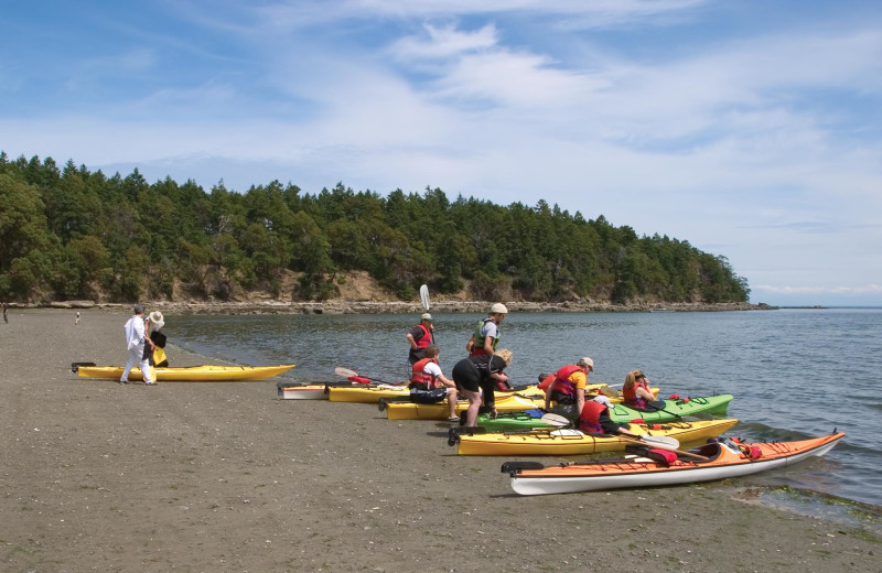 Kayaks at Mayne Island Resort and Spa.