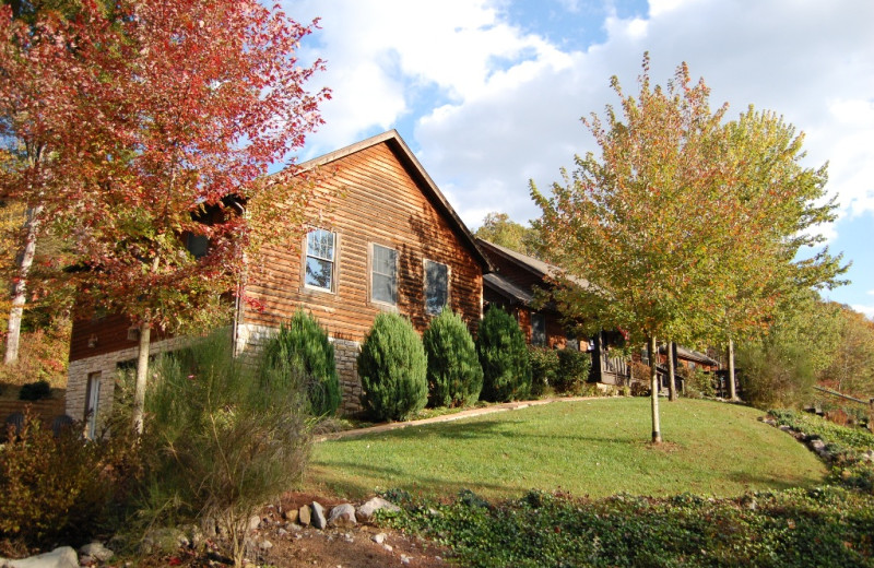 Cottage exterior at Harvest Moon Cottages.