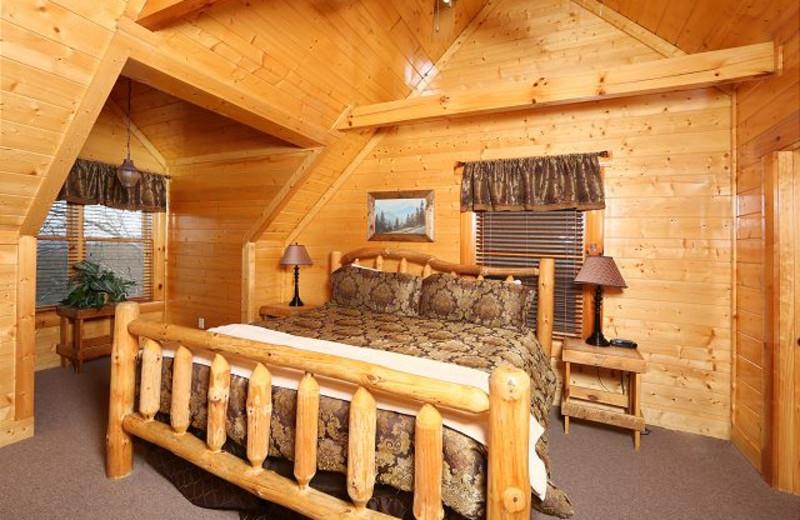 Cabin bedroom at Eden Crest Vacation Rentals, Inc. - Rising Eagle Lodge.