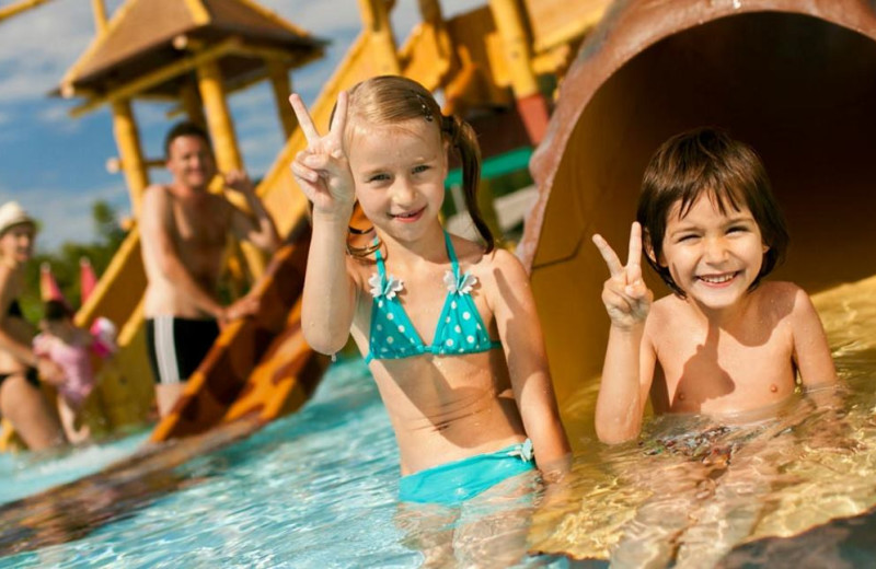 Kids at water park at Glamping Olimia Adria Village.