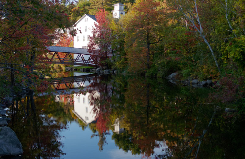 Fall colors at Sunapee Harbor Cottages.