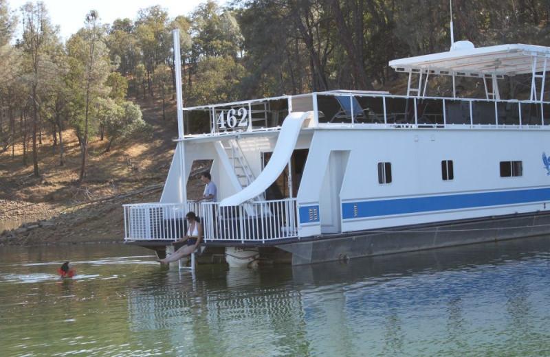 Houseboat exterior at Pleasure Cove.