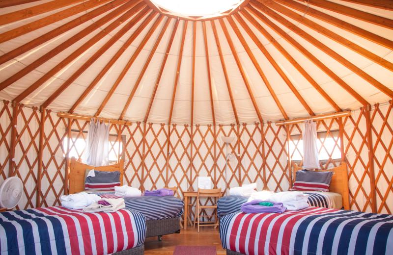 Yurt interior at Joyful Journey Hot Springs Spa.