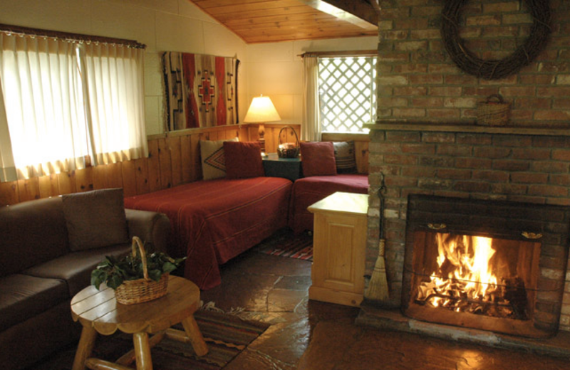 Fireplace guest room at Briar Patch Inn.