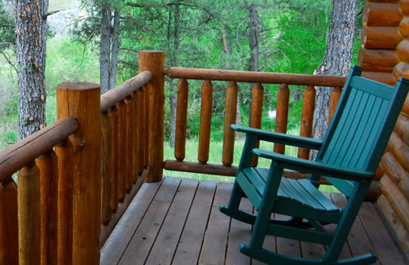 Cabin porch at Newton Fork Ranch.