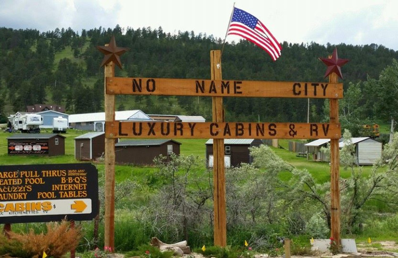 Exterior view of No Name City Luxury Cabins.