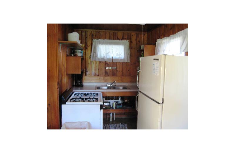 Cabin kitchen at Birch Grove Resort.