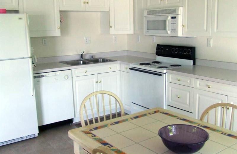 Cabin kitchen at Buzzard Rock Resort and Marina.