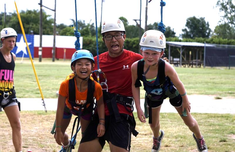 Rope climbing at Camp Champions on Lake LBJ.