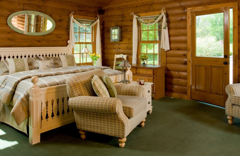 Cabin bedroom at Goldmoor Inn.
