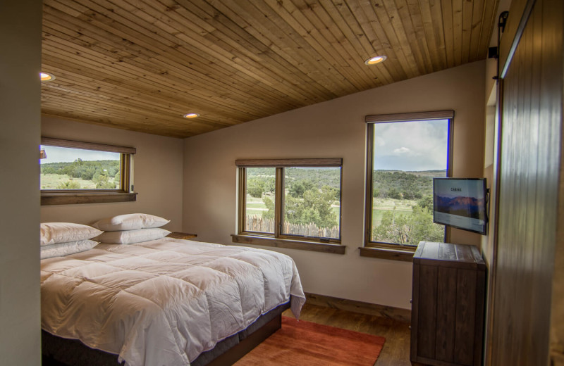 Cabin bedroom at Royal Gorge Cabins.