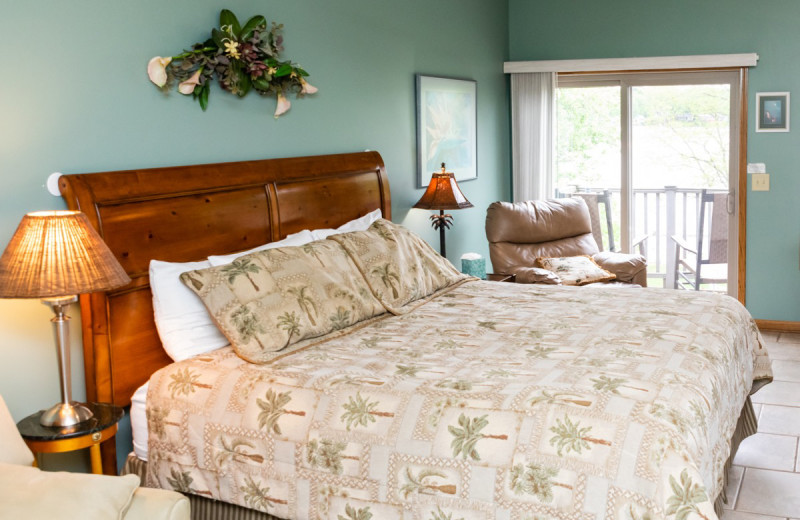 Guest bedroom at The Lighthouse Lodge.