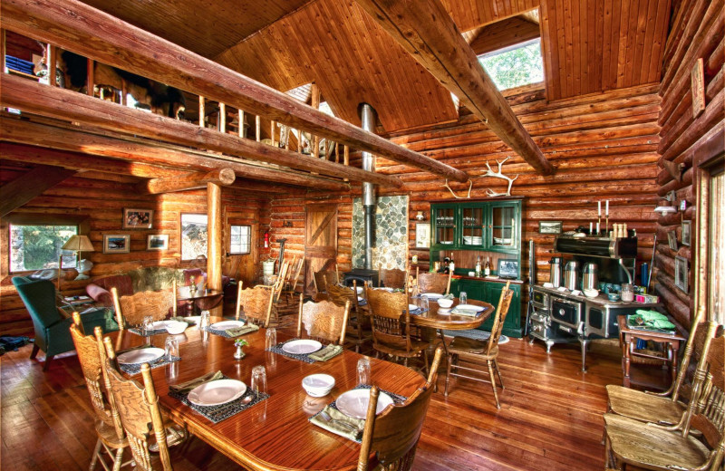 Dining at Kenai Backcountry Lodge.