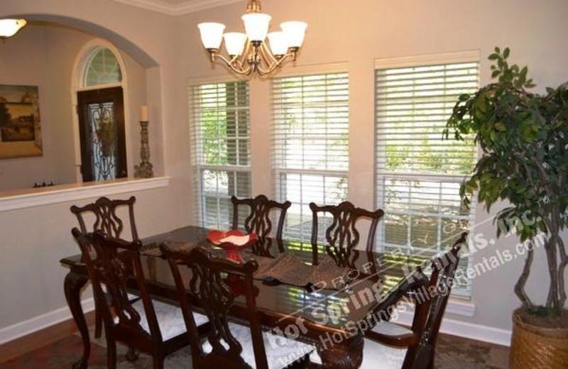 Rental dining room at Hot Springs Village Rentals.