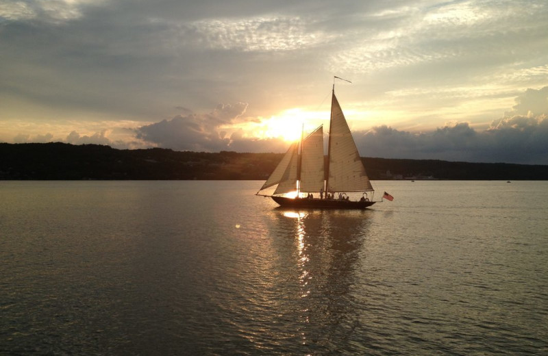 Sail boat on lake near Black Sheep Inn and Spa.
