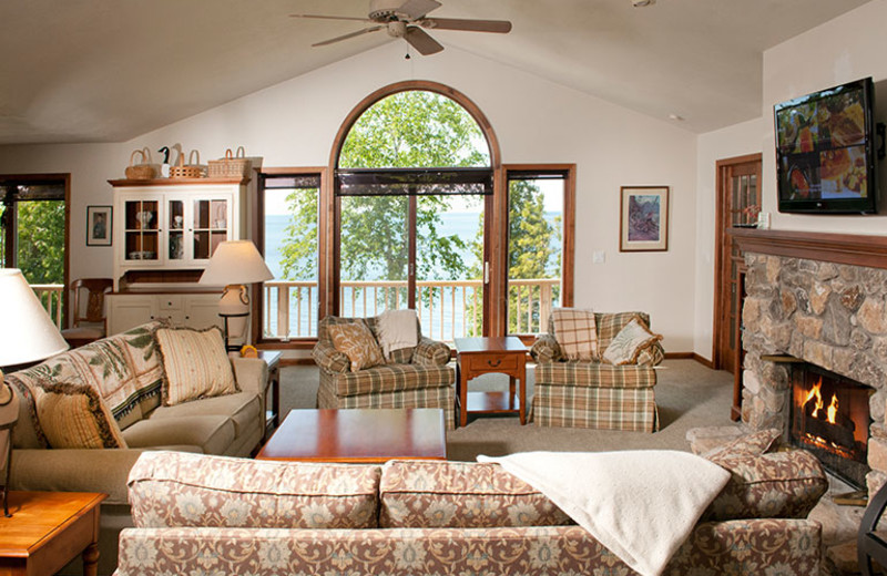 Cottage living room at The Shallows Resort.