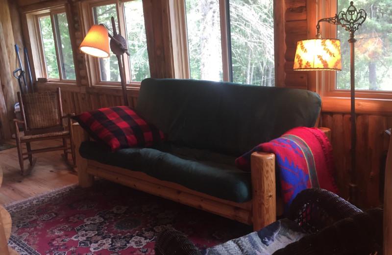 Cabin living room at Buckhorn on Caribou Lake.