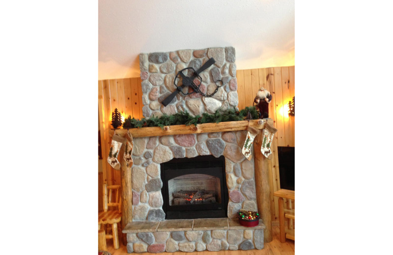 Cabin fireplace at Timber Trails Resort.
