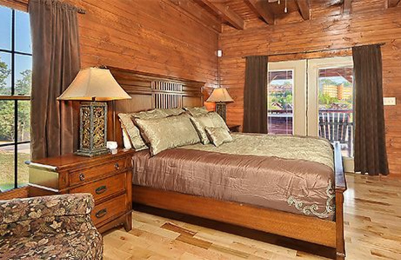 Cabin bedroom at Dollywood Cabins.
